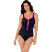 Reebok Swim Zig Zag Zipper Swimsuit