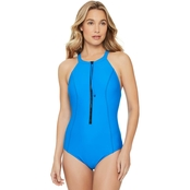 Reebok Swim High Neck Zipper Swimsuit