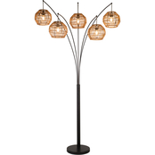 Artiva USA Bali 88 in. LED Arched Floor Lamp Handcrafted Rattan