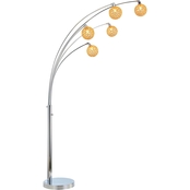 Artiva USA Manhattan Quan 84 in. Gold Crystal Ball LED Tree Floor Lamp, Chrome