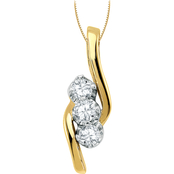 14K Gold 1/2 CTW 3 Stone Diamond Diagonal Pendant