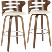 LumiSource Cosini Barstool in Walnut Finish and Cream Fabric 2 p