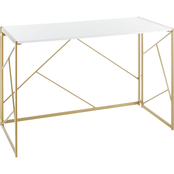 LumiSource Folia Desk in Goldtone Metal and White Wood