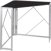 LumiSource Folia Corner Desk in Silvertone Metal and Black Wood
