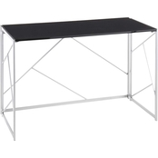 LumiSource Folia Desk in Silvertone Metal and Black Wood