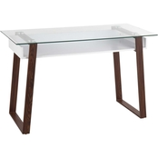 LumiSource Duke Contemporary Desk in Walnut Metal, White Wood and Clear Glass