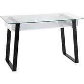 LumiSource Duke Contemporary Desk in Black Metal, White Wood and Clear Glass