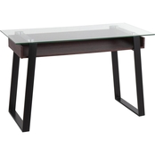 LumiSource Duke Contemporary Desk in Black Metal, Walnut Wood and Clear Glass