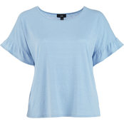 AGB Plus Size Solid Ruffle Sleeve Top