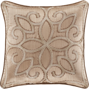 J. Queen New York Decade Gold Square Decorative 18 in. Throw Pillow
