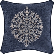 J. Queen New York Botticelli Navy 18 in. Square Embellished Decorative Throw Pillow