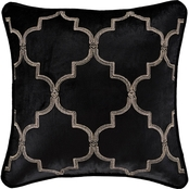 J. Queen New York Windham Black 18 in. Square Embellished Decorative Throw Pillow