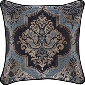 J. Queen New York Middlebury Indigo 20 in. Square Decorative Throw Pillow