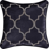 J. Queen New York Middlebury Indigo 18 in. Square Embellished Throw Pillow