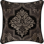 J. Queen New York Windham Black 20 in. Square Decorative Throw Pillow