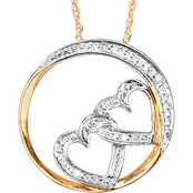 PalmBeach 10K Gold Diamond Accent Double Heart Pendant