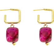 Panacea Goldtone Square Stone Drop Earrings