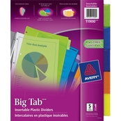 Avery Big Tab Plastic Insertable 5 Tab, 11 x 8 1/2 in. Divider 5 pc. Set