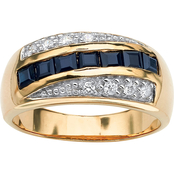 PalmBeach 18KY Gold Over Sterling Silver Sapphire and Cubic Zirconia Ring