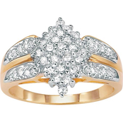 PalmBeach 10K Yellow Gold 1/2 CTW Diamond Cluster Ring, Size 7