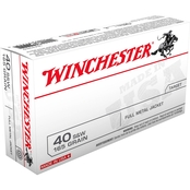 Winchester USA .40 S&W 165 Grain FMJ Flat Nose, 50 Rounds