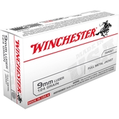 Winchester USA 9mm 124 Gr. FMJ, 50 Rounds
