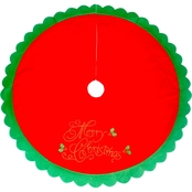 44 inch Red Tree Skirt with Merry Christmas Embroidery