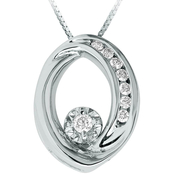 10K White Gold 1/10 CTW Diamond Circle Pendant