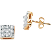 PalmBeach 10K Yellow Gold 1/7 CTW Diamond Stud Earrings