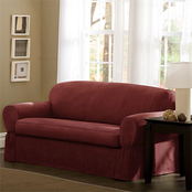 Maytex Piped Faux Suede 2 pc. Loveseat Slipcover