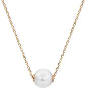 14K Yellow Gold 18 in. 9 x 10mm Freshwater Cultured Pearl Solitaire Necklace