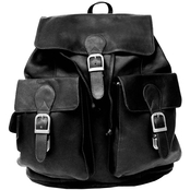 Piel Luggage Large Leather Buckle Flap Backpack