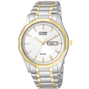 Citizen Men's Eco Drive Two Tone Analog Date Watch with Bone White Dial