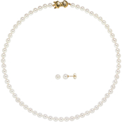 Blue Lagoon By Mikimoto 14K Yellow Gold Akoya 6-6.5mm Pearl Necklace & Earring Set