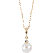 Blue Lagoon By Mikimoto 14K Yellow Gold 6.5-7mm Pearl Diamond Accent Drop Pendant
