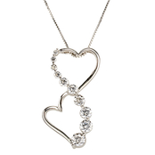 14K White Gold 1/2 CTW Double Heart Journey Diamond Pendant