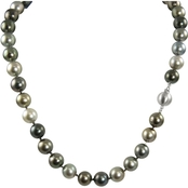 14K White Gold 18 in. 8-10mm Graduated Tahitian Cultured Pearl Necklace