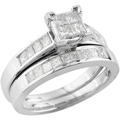 14K White Gold 1 CTW Princess-Cut Quad Cluster Diamond Bridal Set