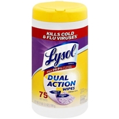 Lysol Dual Action Disinfecting Wipes 75 Count Canister, Citrus Scent