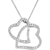 10K White Gold 1/4 CTW Diamond Double Heart Pendant