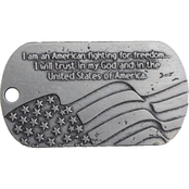 Shields of Strength Kneeling Soldier Antique Finish Dog Tag Necklace, Psalm 27:3
