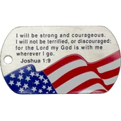 Shields of Strength Joshua Flag Stainless Steel Dog Tag Necklace, Joshua 1:9