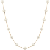 14K Yellow Gold 17 in. 5.5 x 6mm Freshwater Cultured Tin Cup Pearl Necklace