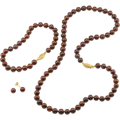 14K Yellow Gold 4mm Chocolate Freshwater Pearl 3-Pc. Jewelry Set