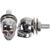 Custom Accessories Chrome Metal Skull License Plate Fasteners