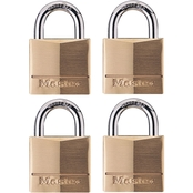 Master Lock 1-9/16 in Wide Solid Brass Body Padlock, 4 Pk.