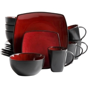 Gibson Elite Soho Lounge Red Reactive Dinnerware 16 pc. Two Tone Dinnerware Set