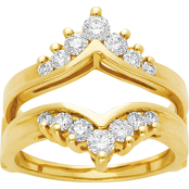 14K Yellow Gold 3/4 CTW Channel-Set Diamond Ring Guard, Size 7