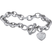 PalmBeach Platinum over Sterling Silver Oval Link Diamond Accent Heart Charm Bracelet