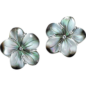 PalmBeach Silvertone Black Mother-of-Pearl Flower Earrings